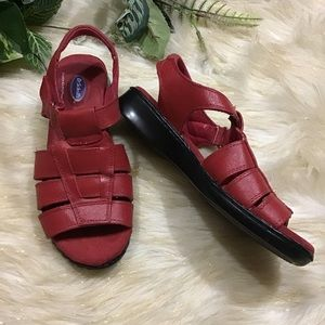Dr Scholls red leather open toe sandals size 6.5